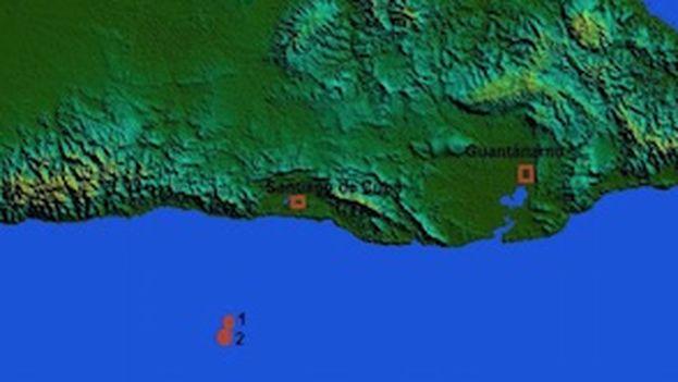Ubicación de varios de los sismos ocurridos en Santiago de Cuba.