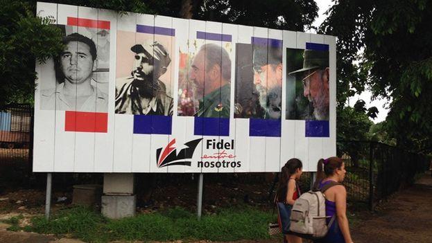 Valla oficial para la celebración del 90 cumpleaños de Fidel Castro. (14ymedio)