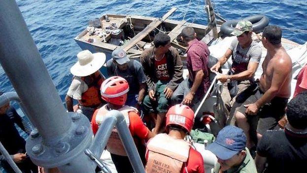 Según las autoridades mexicanas, en verano se incrementó el número de balseros cubanos en costas de Quintana Roo y Yucatán. (SEMAR)