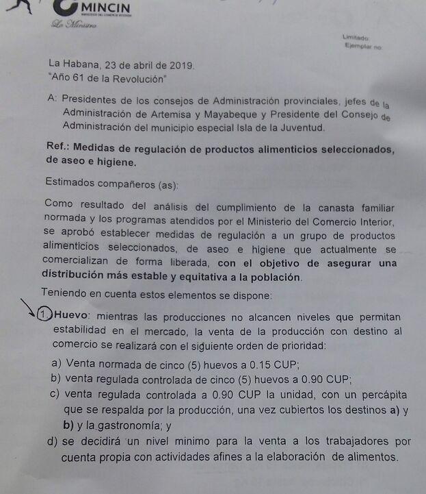 El documento que ha distribuido el Ministerio de Comercio Interior (Mincin) sobre las nuevas medidas.