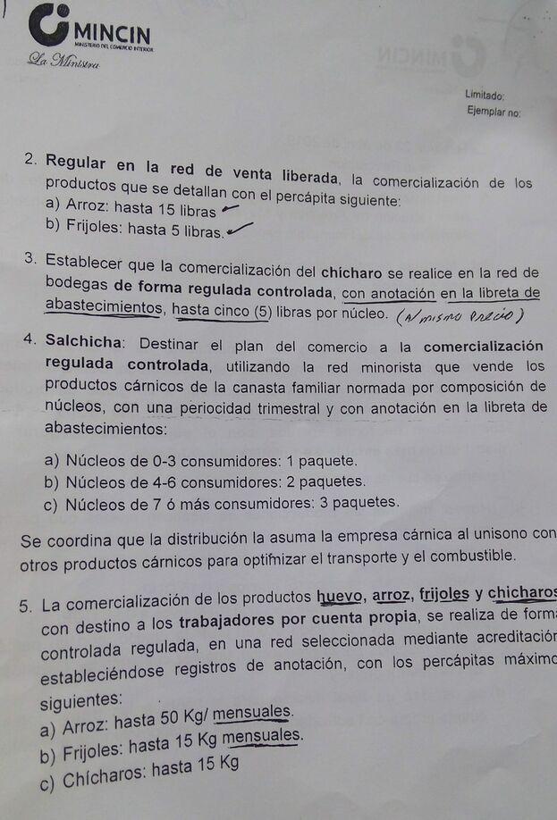 El documento que ha distribuido el Ministerio de Comercio Interior (Mincin) sobre las nuevas medidas. (14ymedio)