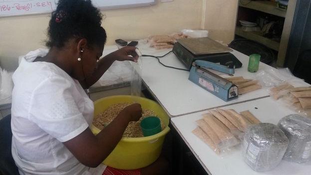 Una empleada selecciona y envasa especias en las Industrias Purita. (14ymedio)