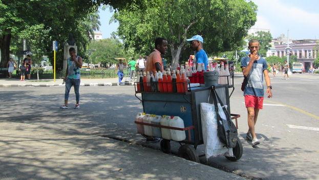"""Los granizaderos trabajan amparados por la licencia de """"elaborador vendedor de alimentos y bebidas no alcohólicas de forma ambulatoria"""". (14ymedio)"""