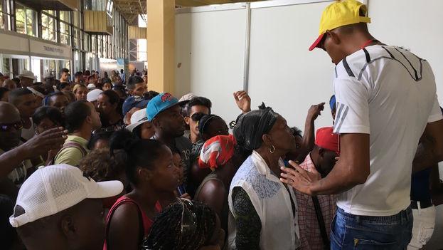 Un hombre trata de contener a la multitud que quiere pasar a la Feria de La Habana. (14ymedio)
