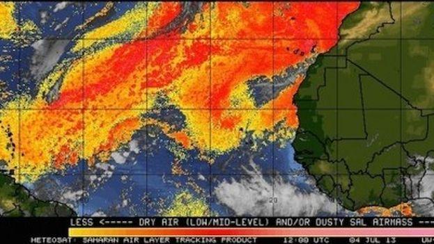 Una imagen satelitar de la nube de polvo del Sahara. (14ymedio)