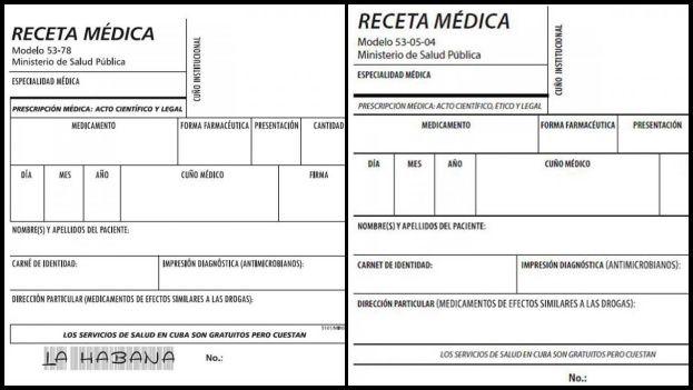 A la izquierda el nuevo modelo de receta médica que circula en La Habana y, a la derecha, el que entrará en vigor el próximo 19 de febrero en el resto del país. (Granma)
