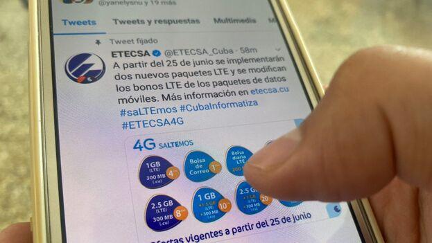 Los nuevos paquetes de Etecsa entrarán en vigor a partir de este 25 de junio. (14ymedio)