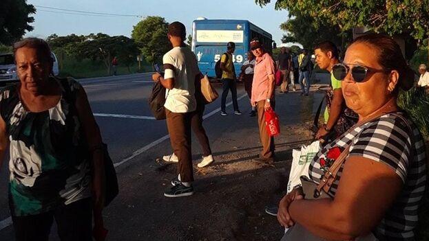 Una parada de ómnibus a las afueras de Alamar estaba abarrotada este martes y por horas no pasó ninguna 'guagua'. (Jancel Moreno)