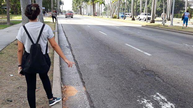 Los pocos carros que pasaban iban vacíos y no paraban a las personas que les hacían señas. (14ymedio)