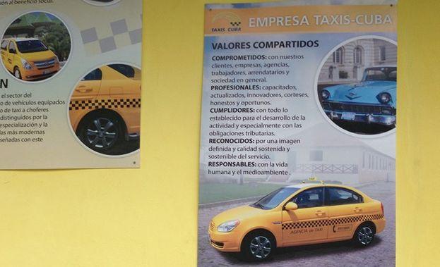 Características de los taxis cubanos promocionadas por las autoridades del sector. (14ymedio)