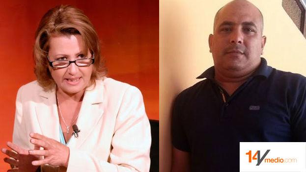 La periodista Aixa Hevia, vicepresidenta de la Upec y el periodista expulsado José Ramón Ramírez Pantoja. (Montaje 14ymedio)