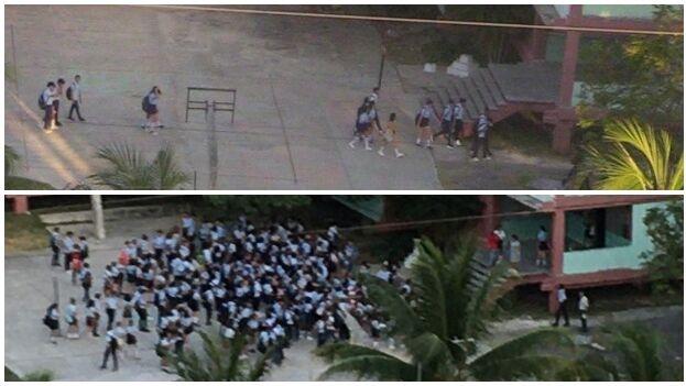La foto de arriba es de este lunes, con los pocos estudiantes que asistieron a clases en el preuniversitario José Miguel Pérez, en La Habana, y la de abajo del mismo lugar el pasado viernes. (14ymedio)