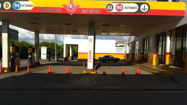 El servicentro La Calzada, en Cienfuegos, cerrado por falta de combustible. (14ymedio)