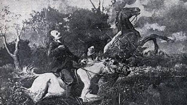 Óleo de Esteban Valderrama, cuyo original fue destruído, representando la muerte de José Martí