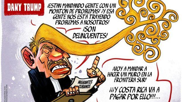 El caricaturista de 'Confidencial' Pedro X. Molina inmortalizó al Comandante en una viñeta titulada 'Dany-Trump'.