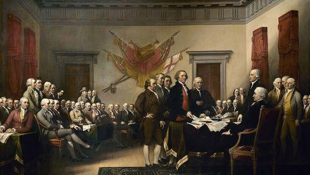 Pintura que recrea la presentación al Congreso del documento que establecía la Declaración de Independencia de los Estados Unidos. (John Trumbull - US Capitol)