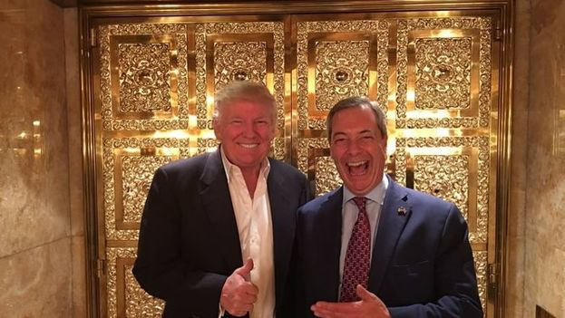 Donald Trump y Nigel Farage, ex líder del UKIP británico. (Twitter)