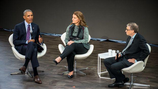 La fundación Goalkeepers 2017, patrocinada por Bill Gates, reunió a cuatro pesos pesados de la mirada optimista: Los dueños de casa, Bill y Melinda Gates, Obama y Justine Trudeau. (@BillGates)