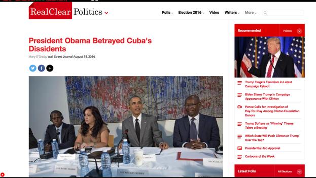 Algunos medios que han reproducido el artículo del 'Wall Steet Journal' lo han ilustrado con el rostro de Miriam Celaya durante la reunión en marzo con Barack Obama. (Captura)