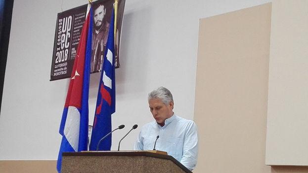 Miguel Díaz-Canel mostró con pasmosa simplicidad el alcance de su pensamiento político al clausurar el X Congreso de la Unión de Periodistas de Cuba. (ANC)