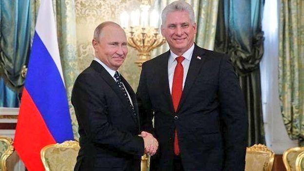 Miguel Díaz-Canel fue recibido por Vladímir Putin en su visita a Rusia. (@DiazCanelB)
