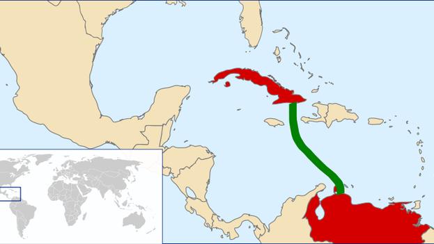Propuesta de ruta eléctrica entre Venezuela y Cuba. (wikimedia)