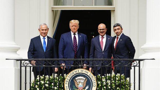 Los líderes de Israel, Estados Unidos, Bahrein y Emiratos Árabes Unidos en la firma de los Acuerdos de Abraham. (EFE)