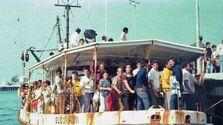 Uno de los barcos del éxodo del Mariel, en 1980. (Florida Memory)