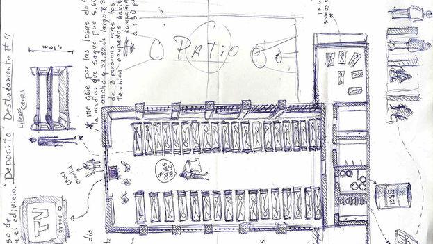 Plano de la compañía 4H en prisión dibujado a mano por Danilo Maldonado, 'El Sexto'