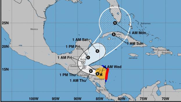 Actualmente, los vientos con fuerza de huracán se extienden hasta 25 millas (35 km) desde su ojo y los más débiles (con fuerza de tormenta tropical) llegan a 115 millas (185 km). (NOAA)