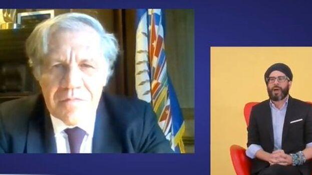 Almagro durante la transmisión del evento, patrocinado por la Agencia de Estados Unidos para el Desarrollo (Usaid) y la OEA.