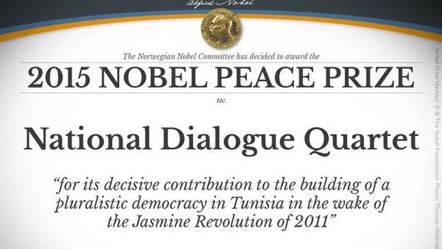 Anuncio de la Academia sueca del premio Nobel de la Paz. (Nobel Prize)