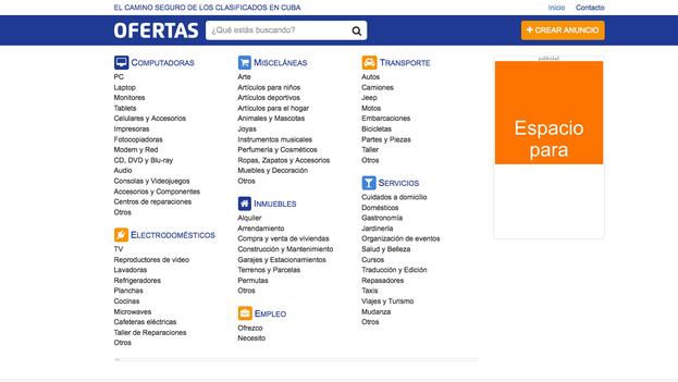 Captura de pantalla de la nueva web del periódico de clasificados 'Ofertas'
