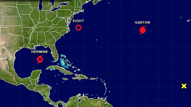 Mapa del Centro Nacional de Huracanes de Estados Unidos de este miércoles, donde se ve activa la tormenta 'Hermine'. (NHC)