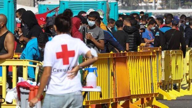Cruz Roja presta una primera asistencia humanitaria para comprobar las condiciones de salud en las que llegan estas personas. (EFE)