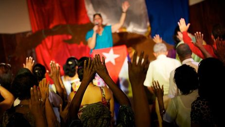 Culto evangélico en Cuba.