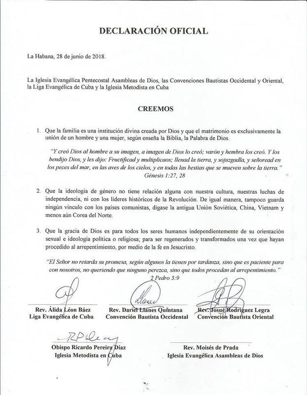 Declaración firmada por cinco iglesias evangélicas que rechazan el matrimonio igualitario.