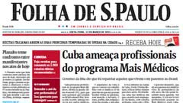 Edición del 13 de marzo de la Folha de Sao Paulo