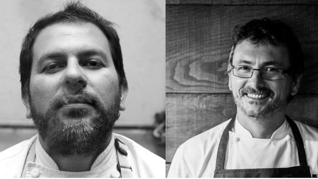De la izquierda a la derecha: los chefs Enrique Olvera y Andoni Luis Aduriz. (Fuentes: Twitter / Restaurante Mugaritz)