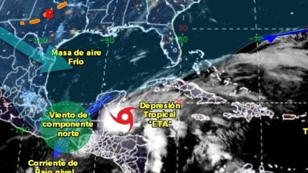 Eta se dirige a Florida pasando por la zona occidental de Cuba.