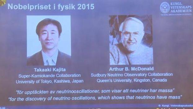 Kajita y McDonald han sido galardonados con el Nobel de Física por demostrar que los neutrinos tienen masa. (Nobel Prize)