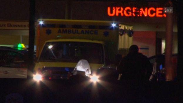 Llegada del médico cubano contagiado de ébola al Hospital Universitario de Ginebra. (Instantánea de vídeo de SRF)