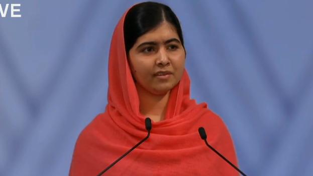 Malala durante la ceremonia de entrega del Nobel de la Paz. (Academia sueca)
