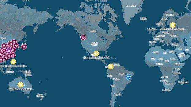 Mapa elaborado por google que señala los lugares en que el coronavirus se ha confirmado y donde podría haber posibles portadores .