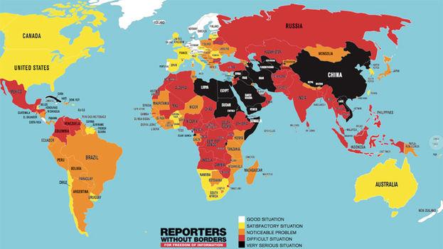 Mapa de la libertad de prensa para Reporteros sin Fronteras este 2018. (RSF)