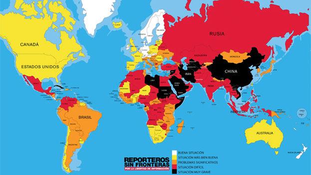 Mapa de la libertad de prensa en el mundo según Reporteros sin fronteras para 2016. (RSF)