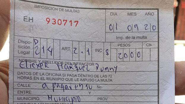Multa impuesta el 1 de septiembre en La Habana (Facebook/Eliexer Márquez)