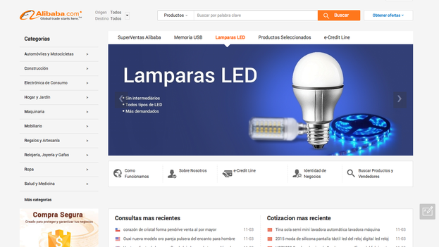 Página principal del portal de ventas chino Alibaba en español