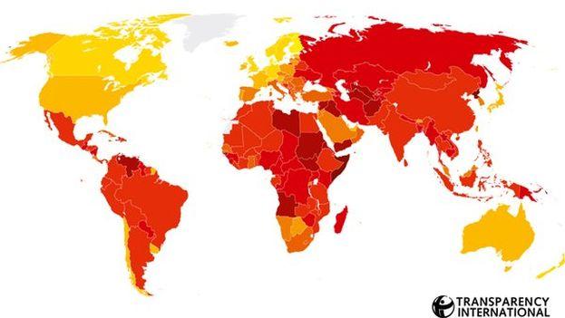 Mapa del Índice de Percepción de la Corrupción 2015, según Transparencia Internacional. (@Fundeorg)
