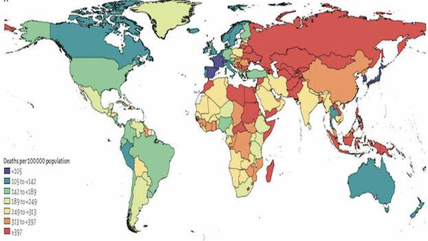 Tasa de mortalidad asociada a la alimentación. Lo valores más altos/bajos se muestran en rojo/azul The Lancet